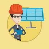 Engineer in hard hat working on digital tablet at solar power plant. Engineer with tablet computer c poster
