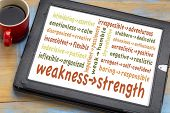 turn your weaknesses into strengths concept - word cloud of weakness-strength pairs on a digital tab poster