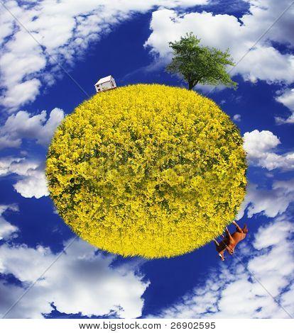 Постер, плакат: Сохраните композиция изображения планеты с земли и сельских ландшафтов с домашними животными, холст на подрамнике
