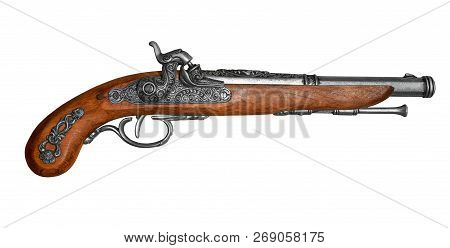 Antique Flintstone Pistol Isolated On