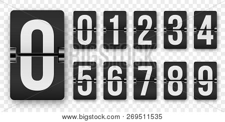 Countdown Numbers Flip Counter Vector Isolated Set  Retro Style Flip Clock  Or Scoreboard Mechanical poster