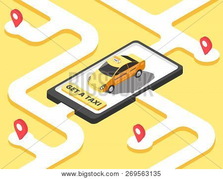 Taxi Concept Isometric Yellow Car