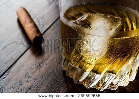 Godfather Cocktail With Cigar On