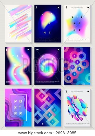 poster of Set Of 9 Creative Design Posters. Modern Style Abstraction Background Of Liquid Colorful Shapes, Cir