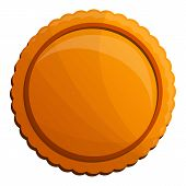 Tasty Round Biscuit Icon. Cartoon Of Tasty Round Biscuit Vector Icon For Web Design Isolated On Whit poster