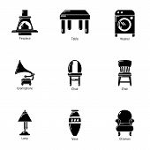 Parlour Icons Set. Simple Set Of 9 Parlour Vector Icons For Web Isolated On White Background poster