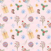 Tender Pink Christmas Seamless Pattern With Cute Watercolor Elements. Winter Texture With Branches,  poster