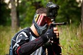 paintball shooter in the field