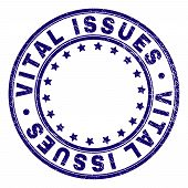 Vital Issues Stamp Seal Imprint With Grunge Texture. Designed With Circles And Stars. Blue Vector Ru poster