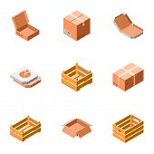 Delivery Packing Box Icon Set. Isometric Set Of 9 Delivery Packing Box Vector Icons For Web Design I poster