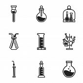 Science Chemical Glass Icon Set. Simple Set Of 9 Science Chemical Glass Vector Icons For Web Design  poster
