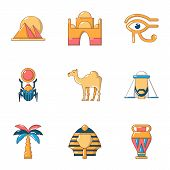 Egypt Size Icons Set. Flat Set Of 9 Egypt Size Vector Icons For Web Isolated On White Background poster
