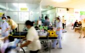 Blur Of Busy Nurse In Hospital Background, Medical Workers Moving Patient On Gurney Through Hospital poster