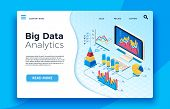 Isometric Big Data Analytics. Analytical Infographic Statistic Dashboard. 3d Vector Illustration poster