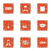 Purchase Of Material Icons Set. Grunge Set Of 9 Purchase Of Material Icons For Web Isolated On White poster