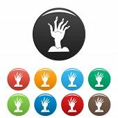 Zombie Hand Icon. Simple Illustration Of Zombie Hand Vector Icon For Web Design Isolated On White Ba poster