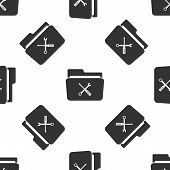 Folder And Tools Or Settings Icon Seamless Pattern On White Background. Folder With Wrench And Screw poster