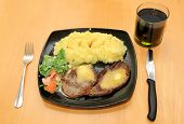 Beef steak with potatoes and coke