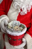 Santa Claus. Charity Money for the Poor. Donations for the Needy. Santa Collects Funds for the Homel poster