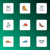 Clothes Icons Colored Line Set With Shoe, Gumshoes, Half-hose And Other Panties Elements. Isolated   poster