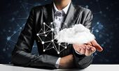Businessman In Suit Keeping Cloud With Network Connections In Hands And Network Systems On Backgroun poster