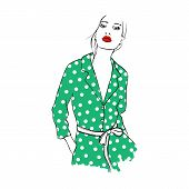Fashion Woman Sketch With Red Lips. Beautiful Young Woman In Green Peas Shirt, Overalls. Hand Drawn poster