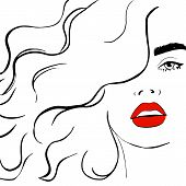 Fashion Woman With Red Lips Sketch. Fashion Face Woman Portrait For Your Design. Beautiful Young Wom poster