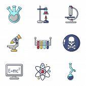 Scientific Adviser Icons Set. Cartoon Set Of 9 Scientific Adviser Icons For Web Isolated On White Ba poster