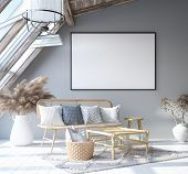 Mock Up Poster Frame In Home Interior Background, Scandinavian Bohemian Style Living Room In Attic,  poster