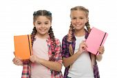 Diary For Girls Concept. Children Cute Girls Hold Notepads Or Diaries Isolated On White Background.  poster