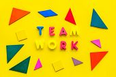 Teamwork Concept. Teamwork Techniques For Students. Text Teamwork Lined With Colored Letters In Abst poster