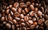 Coffee Beans /  Roasted Coffee Beans Background - Top View Coffee Beans Close Up  Beautiful For Coff poster