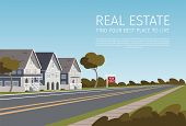 Real Estate Find Your Best Place To Live. Banner Vector Illustration Of Cartoon Real Estate A Family poster