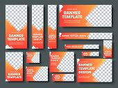 Set Of Orange Yellow Vector Web Banners With Place For Photo. poster