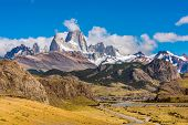 Road to El Chalten town and mountain panorama with Fitz Roy peak at Los Glaciares National Park, Arg poster