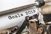 Goals 2019 Typed Words On A Vintage Typewriter. Close Up. poster