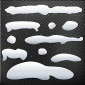 Set Of Snow Cap On Black Background. Snow Collection. Ice Cap. Snow Hill. Vector Illustration poster