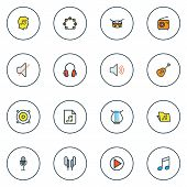 Audio Icons Colored Line Set With Radio, Off, Soundtrack And Other Volume Elements. Isolated  Illust poster