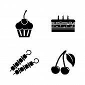 Delicacy Tasty Food. Simple Related Vector Icons Set For Video, Mobile Apps, Web Sites, Print Projec poster