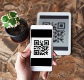 Qr Code Payment Transaction Using Mobile Smartphone And Tablet Devices. Scanning Qr Code From The Ta poster