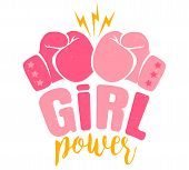 Vector Vintage Logo For A Boxing With Two Pink Gloves. Retro Emblem For Women Boxing. Poster Girl Po poster