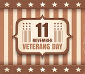 Vintage Vector Poster For Veterans Day. Retro Emblem For American Veterans Day In Sepia. poster
