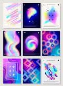 Set Of 9 Creative Design Posters. Modern Style Abstraction Background Of Liquid Colorful Shapes, Cir poster