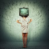 Full Length Portrait Addicted Young Woman Hands On Hips And Old Tv Instead Of Head. Television Manip poster