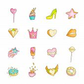 Cute Funny Girl Teenager Colored Icon Set, Fashion Cute Teen And Princess Icons. Magic Fun Cute Girl poster