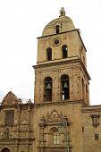 The Bell Tower Of San Francisco Basilica Or Basilica De San Francisco, Historic Baroque Church In La poster