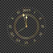 2019 Clock. Round Retro Clock With Roman Numbers. Couple Minutes Untill New Year 2019. poster