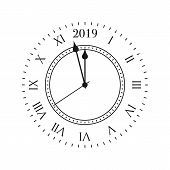 2019 Clock. Round Retro Clock With Roman Numbers, And 2019 Midnight Numbers. poster