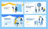 Set Of Flat Design Web Page Templates Of Marketing Strategy, Consulting, Human Resources Management, poster