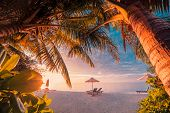 Beautiful Tropical Sunset Scenery, Two Sun Beds, Loungers, Umbrella Under Palm Tree. White Sand, Sea poster